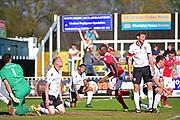 Wrexham Forward Ntumba Massanka scores 3-4 during the Vanarama National League match between Bromley FC and Wrexham FC at Hayes Lane, Bromley, United Kingdom on 8 April 2017. Photo by Jon Bromley.