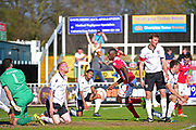 Wrexham Forward Ntumba Massanka scores 3-4 during the Vanarama National League match between Bromley FC and Wrexham FC at Hayes Lane, Bromley, United Kingdom on 8 April 2017. Photo by Jon Bromley.