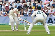 Stuart Broad of England defends during the International Test Match 2019 match between England and Australia at Edgbaston, Birmingham, United Kingdom on 3 August 2019.