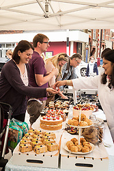 Cake stall, Midsummer Muswell Community Market, Muswell Hill, London 2015