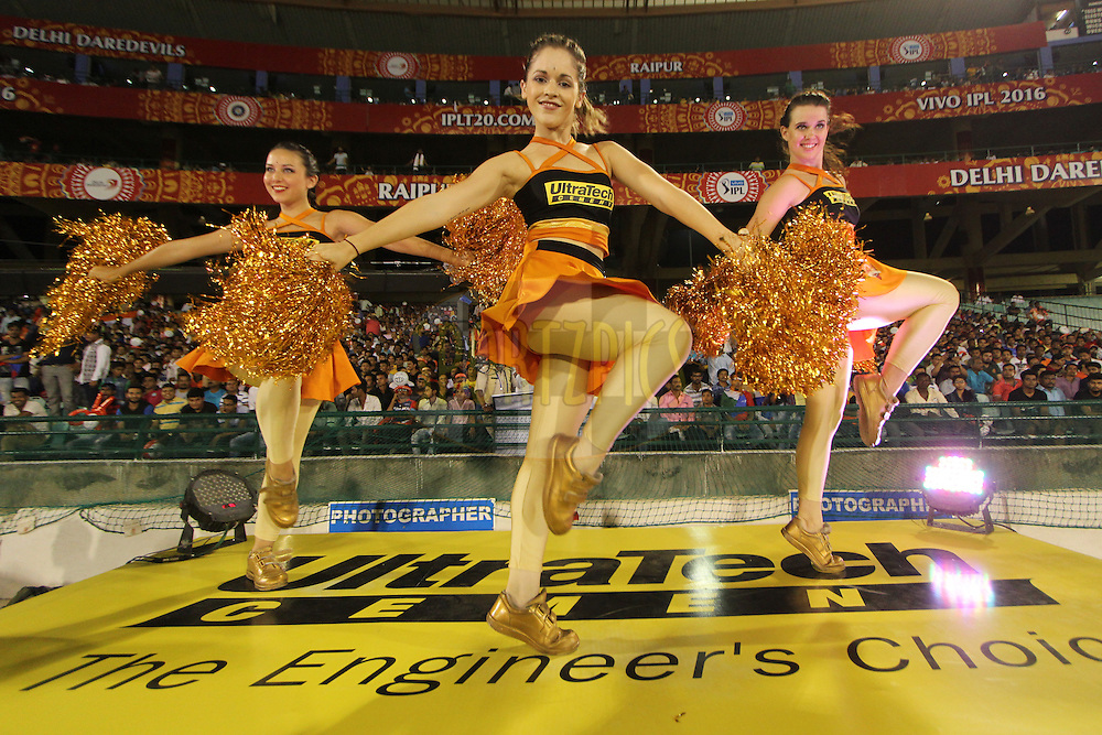 Sunrisers Hyderabad cheerleaders during match 52 of the Vivo Indian Premier League ( IPL ) between the Delhi Daredevils and the the Sunrisers Hyderabad held at the Shaheed Veer Narayan Singh International Cricket Stadium, Naya Raipur, India on the 20th May 2016<br /> <br /> Photo by Arjun Singh / IPL/ SPORTZPICS