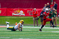 NORMAL, IL - October 05: James Robinson high steps away from a Bison defender during a college football game between the ISU (Illinois State University) Redbirds and the North Dakota State Bison on October 05 2019 at Hancock Stadium in Normal, IL. (Photo by Alan Look)