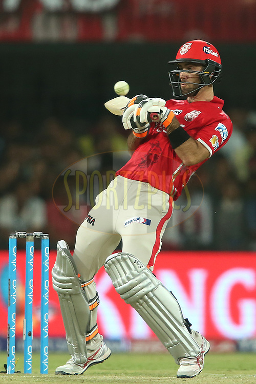 Kings XI Punjab captain Glenn Maxwell attempts to upper cut a delivery during match 4 of the Vivo 2017 Indian Premier League between the Kings XI Punjab and the Rising Pune Supergiant held at the Holkar Cricket Stadium in Indore, India on the 8th April 2017<br /> <br /> Photo by Shaun Roy - IPL - Sportzpics