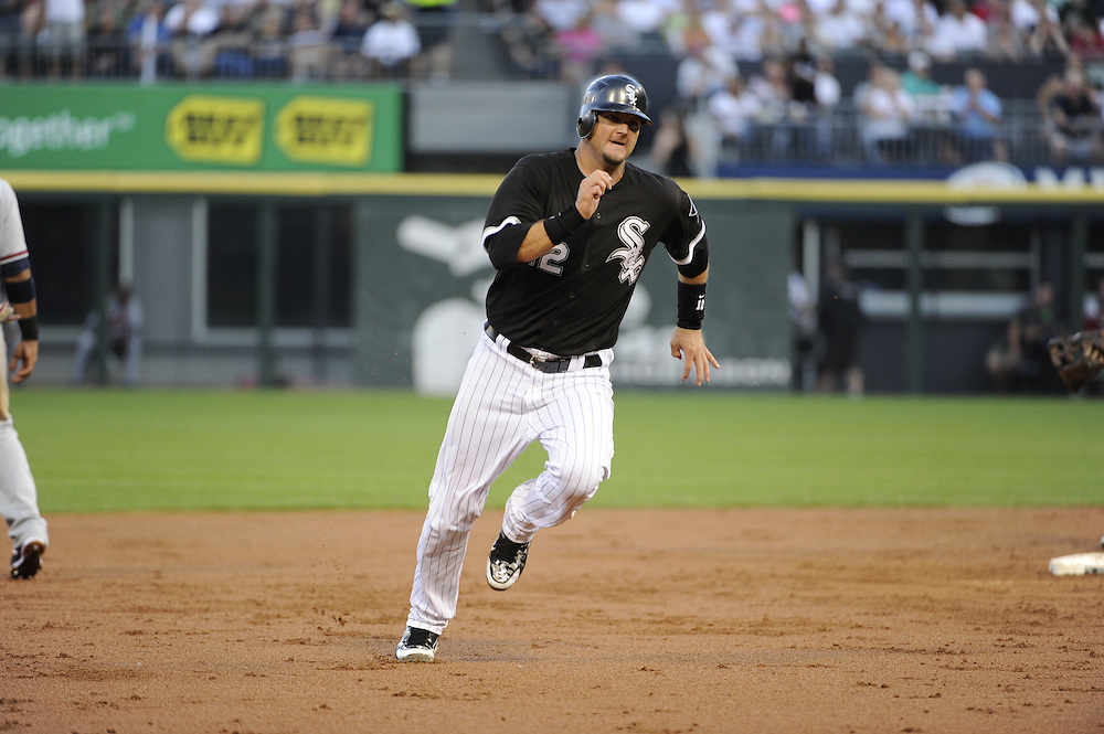 CHICAGO - JUNE 22:  A.J. Pierzynski #12 of the Chicago White Sox runs the bases against the Atlanta Braves on June 22, 2010 at U.S. Cellular Field in Chicago, Illinois.  The White Sox defeated the Braves 9-6.  (Photo by Ron Vesely)