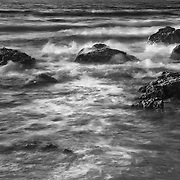 Crashing Waves Over Rocks - Sunset - Pescadero State Beach, CA - Black & White