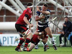 Bristol's  Ellis Genge takes on the Jersey defence - Photo mandatory by-line: Robbie Stephenson/JMP - Mobile: 07966 386802 - 17/04/2015 - SPORT - Rugby - Bristol - Ashton Gate - Bristol Rugby v Jersey - Greene King IPA Championship