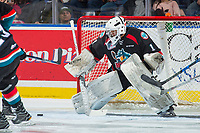 KELOWNA, CANADA - OCTOBER 20: James Porter #1 of the Kelowna Rockets defends the net against the Portland Winterhawks on October 20, 2017 at Prospera Place in Kelowna, British Columbia, Canada.  (Photo by Marissa Baecker/Shoot the Breeze)  *** Local Caption ***