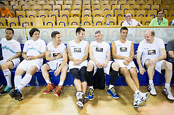 Ermin Rakovic, Zlatko Zahovic, Rene Mlekuz, Sani Becirovic, Darko Mirt, Jasmin Cuturic and Dusan Hauptman during football and basketball charity event All Legends by Olimpiki, on June 9, 2015 in Hala Tivoli, Ljubljana, Slovenia. Photo by Vid Ponikvar / Sportida