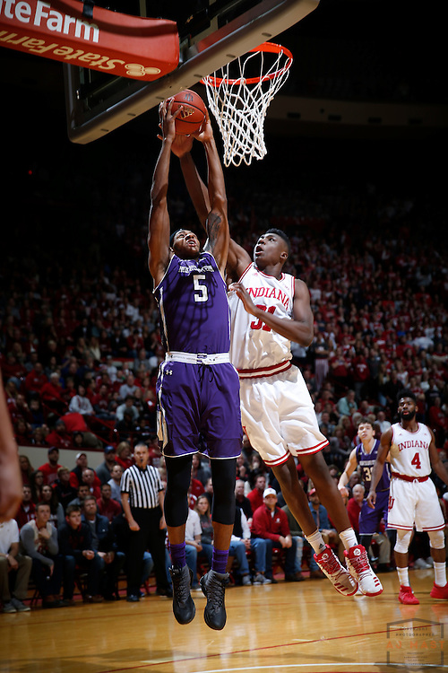 Northwestern center Dererk Pardon (5) in action as Northwestern played Indiana in an NCCA college basketball game in Bloomington, Ind., Saturday, Feb. 25, 2017. (AJ Mast)