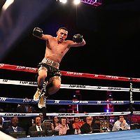 NEW ORLEANS, LA - JULY 14:  Teofimo Lopez leaps into the air after beating William Silva during their WBC Continental Americas Title boxing match at the UNO Lakefront Arena on July 14, 2018 in New Orleans, Louisiana.  (Photo by Alex Menendez/Getty Images) *** Local Caption *** Teofimo Lopez; William Silva