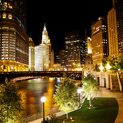 Chicago River buildings at night with Trump Tower, the Wrigley Building, and N Wabash Avenue Bridge (Irv Kupcinet Bridge)