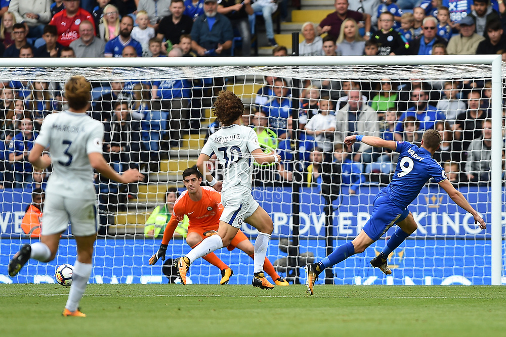 Leicester City forward Jamie Vardy (9) has a shot at goal during the Premier League match between Leicester City and Chelsea at the King Power Stadium, Leicester, England on 9 September 2017. Photo by Jon Hobley.