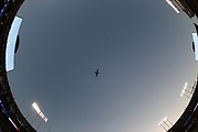 Wide angle of the National Anthem and flyover as the Oakland Raiders prepare for action during the 2018 regular season week 1 NFL football game against the Los Angeles Rams on Monday, Sept. 10, 2018 in Oakland, Calif. The Rams won the game 33-13. (©Paul Anthony Spinelli)