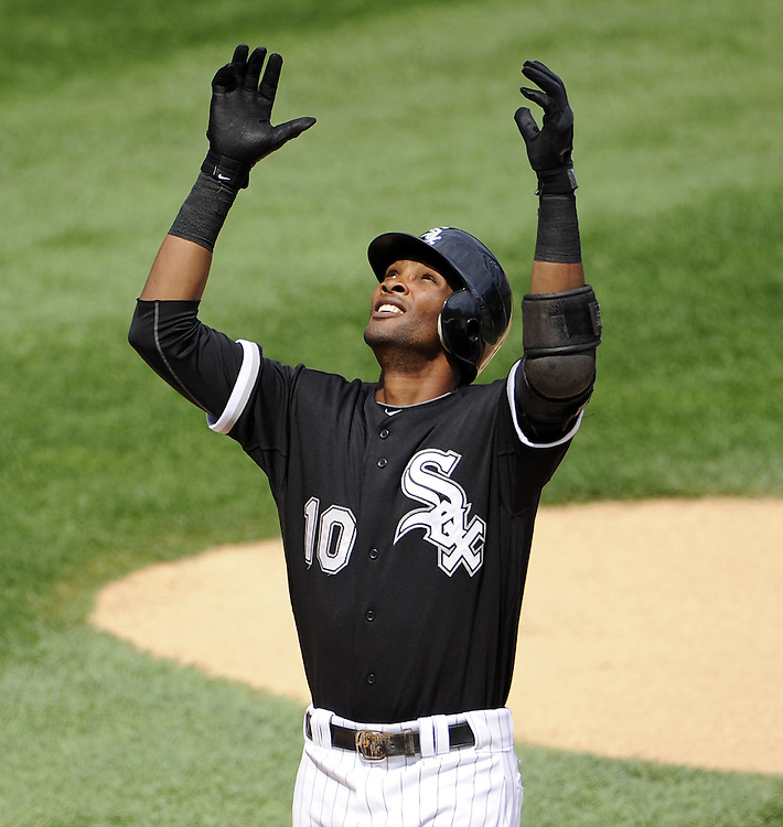 CHICAGO - JULY 09:  Alexei Ramirez #10 of the Chicago White Sox celebrates after hitting a home run in the first inning against the Minnesota Twins on July 9, 2011 at U.S. Cellular Field in Chicago, Illinois.  The White Sox defeated the Twins 4-3.  (Photo by Ron Vesely)  Subject: Alexei Ramirez