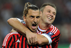 28.09.2011, Stadion Giuseppe Meazza, Mailand, ITA, UEFA CL, Gruppe H, ITA, UEFA CL, AC Mailand (ITA) vs FC Viktoria Pilsen (CZE), im Bild Zlatan IBRAHIMOVIC Milan celebrates scoring on penalty.Esultanza dopo il Gol su calcio di rigore di Zlatan IBRAHIMOVIC con Antonio Cassano. // during the UEFA Champions League game, group H, AC Mailand (ITA) vs FC Viktoria Pilsen (CZE) at Giuseppe Meazza stadium in Mailand, Italy on 2011/09/28. EXPA Pictures © 2011, PhotoCredit: EXPA/ InsideFoto/ Alessandro Sabattini +++++ ATTENTION - FOR AUSTRIA/(AUT), SLOVENIA/(SLO), SERBIA/(SRB), CROATIA/(CRO), SWISS/(SUI) and SWEDEN/(SWE) CLIENT ONLY +++++