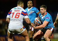 Tinirau Arona of Wakefield Trinity and Tyrone McCarthy of Salford Red Devils during the Betfred Super League match at Belle Vue, Wakefield<br /> Picture by Richard Land/Focus Images Ltd +44 7713 507003<br /> 09/02/2018