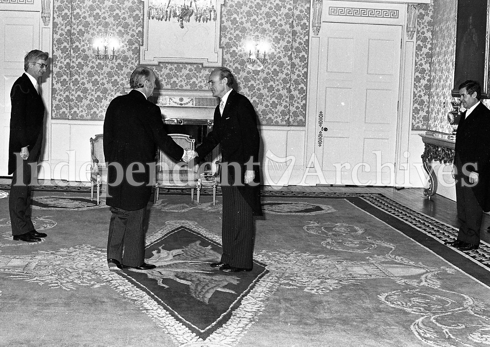 The ambassador of the Federal Republic of Germany Dr Ekkehard Eickhoff chatting with President Hillery at Aras an Uachtarain, 12/05/1983 (Part of the Independent Newspapers Ireland/NLI Collection).