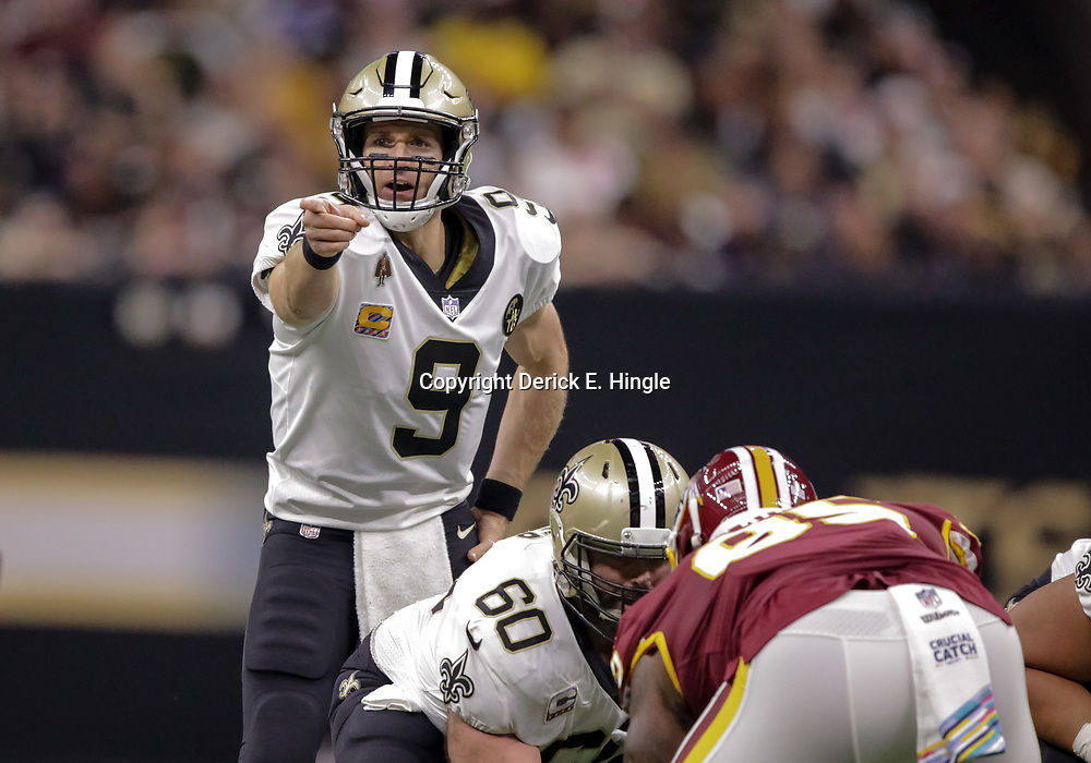 Oct 8, 2018; New Orleans, LA, USA; New Orleans Saints quarterback Drew Brees (9) against the Washington Redskins at the Mercedes-Benz Superdome. Mandatory Credit: Derick E. Hingle-USA TODAY Sports