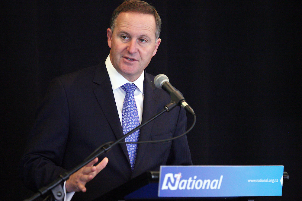 Prime Minister John Key addresses members at the NZ National Party Mainland Conference, Forsyth Barr Stadium, New Zealand, Sunday, April 29, 2012. Credit:SNPA / Dianne Manson