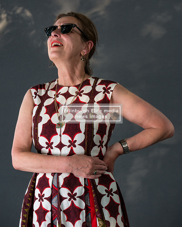 Pictured: Edinburgh International Book Festival, Edinburgh, Scotland, United Kingdom, 24 August 2019. Pictured: Kirsty Wark, Scottish journalist and television presenter, best known for fronting BBC Newsnight, talks about her second novel 'The House by the Loch' at the book festival today.<br />