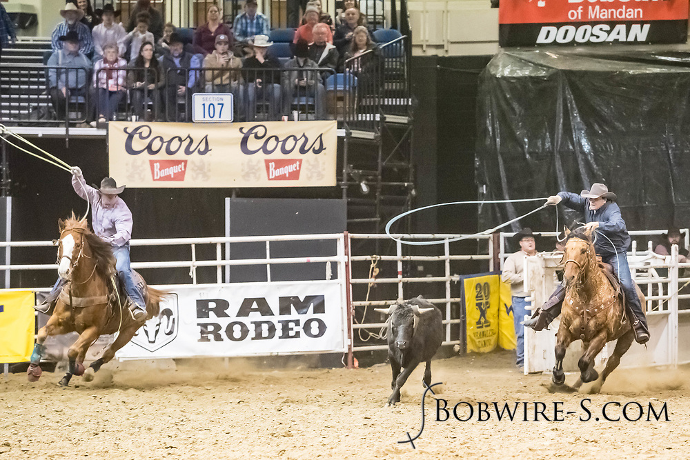 Wroper Kosel and Levi Hapney compete in team roping at the Bismarck Rodeo on Friday, Feb. 2, 2018. They had a no time on the run.