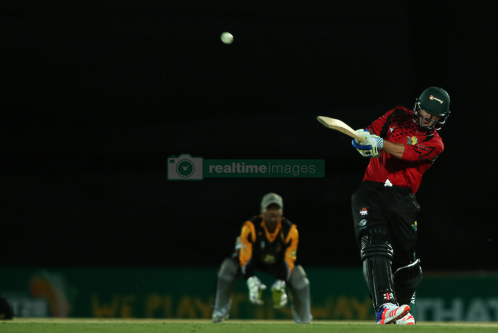 Kelly Smuts of Eastern Province hits the winning runs as Eastern Province beat Boland by 6 wickets during the Africa T20 cup pool D match between Boland and Eastern Province held at the Boland Park cricket ground in Paarl on the 24th September 2016.<br /> <br /> Photo by: Shaun Roy/ RealTime Images