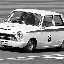 GOODWOOD REVIVAL.....Gordon Shedden in a 1963 Ford Lotus Cortina mk1 in the official practice for the St. Mary's Trophy ..(c) STEPHEN LAWSON | SportPix.org.uk
