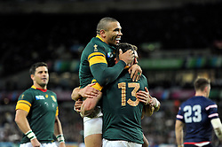 Jesse Kriel of South Africa is congratulated on his try - Mandatory byline: Patrick Khachfe/JMP - 07966 386802 - 07/10/2015 - RUGBY UNION - The Stadium, Queen Elizabeth Olympic Park - London, England - South Africa v USA - Rugby World Cup 2015 Pool B.