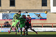 Forest Green Rovers Gavin Gunning(16) heads the ball misses the target during the EFL Sky Bet League 2 match between Morecambe and Forest Green Rovers at the Globe Arena, Morecambe, England on 17 February 2018. Picture by Shane Healey.