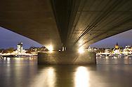 DEU, Germany, Cologne, the Deutzer bridge across the river Rhine, view to the city center.....DEU, Deutschland, Koeln, die Deutzer Bruecke ueber den Rhein, Blick zum Zentrum...