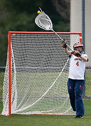 Virginia Cavaliers GK Kendall McBrearty (4) in action against Princeton.  The Virginia Cavaliers women's lacrosse team defeated the Princeton Tigers 9-7 at Klockner Stadium in Charlottesville, VA on March 24, 2007.