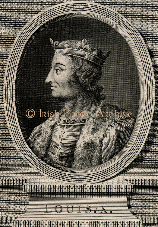Louis X, the Quarrelsome (1289-1316) a member of the Capetian dynasty. King of Navarre from 1305 and  king of France from 1314. Copperplate engraving, 1793.