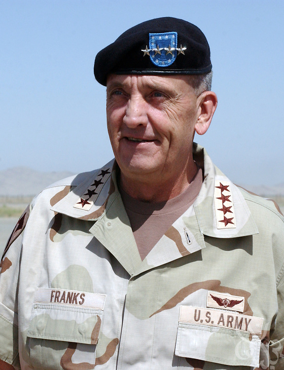 U.S. Commander of Central Command, Gen. Tommy Franks visits U.S. and coalition troops May 15, 2002 at Kandahar airbase in southern Afghanistan. Franks stopped at the base to personally address the troops deployed there as part of Operation Enduring Freedom.