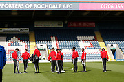 Accrington players inspecting the pitch during the EFL Sky Bet League 1 match between Rochdale and Accrington Stanley at the Crown Oil Arena, Rochdale, England on 12 October 2019.