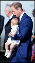 The Duke and Duchess of Cambridge arrive at Sydney airport, Australia, with Prince George on day 10 of their Royal Tour of New Zealand and Australia, Wednesday, 16th April 2014. Picture by Andrew Parsons / i-Images