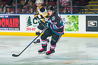 KELOWNA, CANADA - NOVEMBER 3:  Kyle Topping #24 of the Kelowna Rockets skates against the Brandon Wheat Kings on November 3, 2018 at Prospera Place in Kelowna, British Columbia, Canada.  (Photo by Marissa Baecker/Shoot the Breeze)
