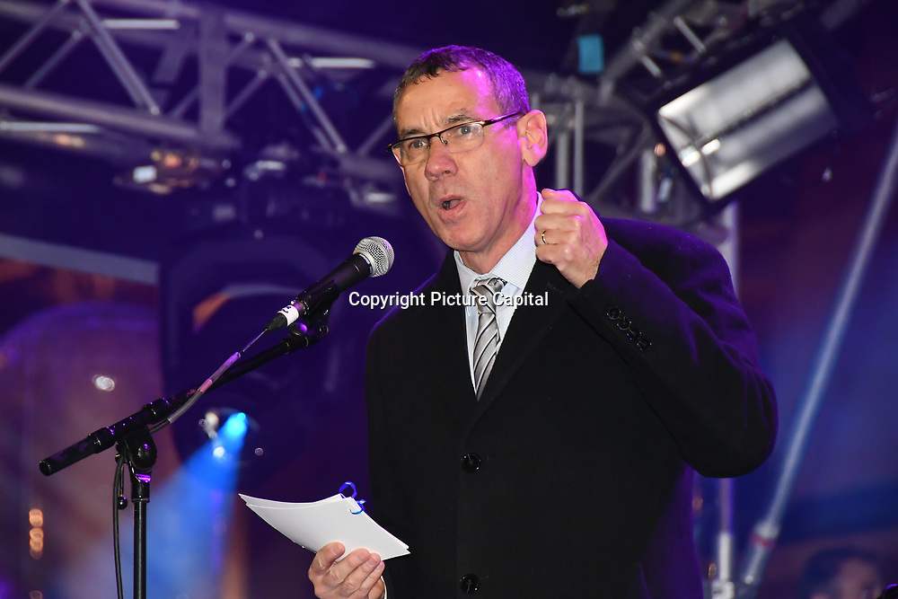 Speaker Mark Regev is a Ambassador of Israel in United Kingdom at the ceremony to light a sacred Menorah to celebrate Chanukah (Hanukkah), the eight-day Jewish Festival in Trafalgar Square, 5th December 2018, London, UK.