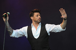 © Licensed to London News Pictures. 16/07/2015<br /> Rochester Castle Concerts,Rochester,Kent<br /> blue singing.<br /> Duncan James<br /> (Byline:Grant Falvey/LNP)