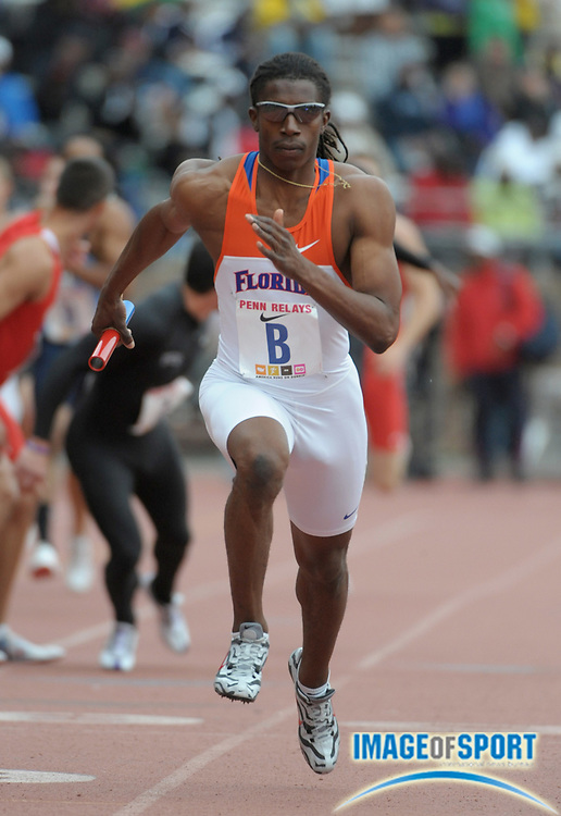 Apr 24, 2010; Philadelphia, PA, USA; Calvin Smith runs the anchor leg on the Florida 4 x 400m relay that won the college race in 3:05.40 in the 116th Penn Relays at Franklin Field.