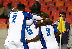 Teammates congratulate Thembinkosi Lorch of Chippa United on his opening goal during the 2016 Premier Soccer League match between Chippa United and Free State Stars held at the Nelson Mandela Bay Stadium in Port Elizabeth, South Africa on the 23rd August 2016<br /><br />Photo by:   Richard Huggard / Real Time Images