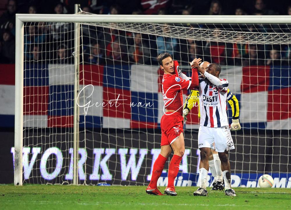 06-03-2009 Voetbal:Sparta Rotterdam:Willem II:Rotterdam<br /> Marko Arnautovic doet vervelend tegen Kargbo en zou de Willem II-er hebben uitgescholden <br /> Foto: Geert van Erven