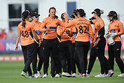 Suzie Bates and Southern Vipers celebrate the wicket of Dane van Niekerk of Surrey Stars during the Women's Cricket Super League match between Southern Vipers and Surrey Stars at the 1st Central County Ground, Hove, United Kingdom on 14 August 2018.