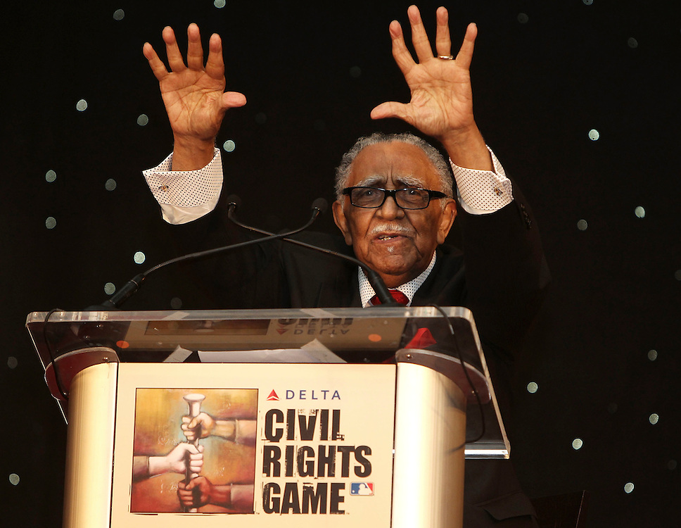 ATLANTA, GA - MAY 14:  Reverend Joseph Lowery speaks at the MLB Beacon Awards Banquet at the Omni Hotel on May 14, 2011 in Atlanta, Georgia.  (Photo by Mike Zarrilli/Getty Images)