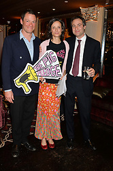 Left to right, DOMINIC WEST, the MARCHIONESS OF WORCESTER and BEN GOLDSMITH at the Pig Pledge Evening at Club no41, 41 Conduit Street, London on 10th March 2014.