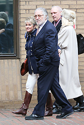 Dave Lee Travis and his wife Marianne Griffin outside Southwark Crown Court in London after the jury retired to consider it's verdict ,  Monday, 10th February 2014. Picture by Stephen Lock / i-Images