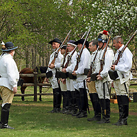 A re-enactment of the American Revolution's Continental Army mustering in Jockey Hollow National Park, New Jersey, USA. Parts of the Continental Army wintered in Jockey Hollow in 1779-1782.<br /> <br /> For Editorial Purposes.