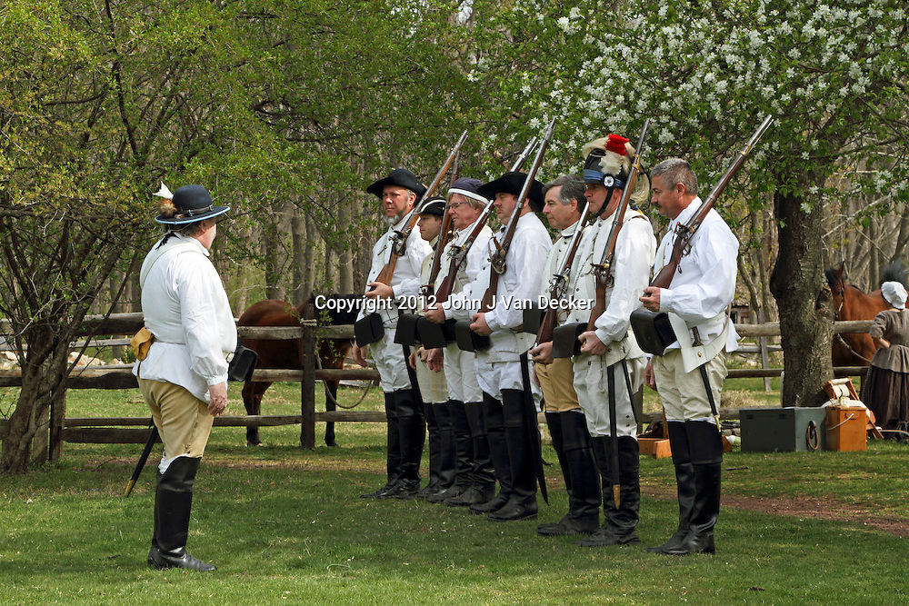 A re-enactment of the American Revolution's Continental Army mustering in Jockey Hollow National Park, New Jersey, USA. Parts of the Continental Army wintered in Jockey Hollow in 1779-1782.<br />