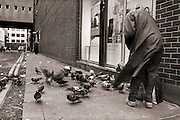 A woman feeding pigeons on a windswept Dublin street.