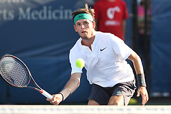 August 1, 2018 - Washington, D.C, U.S - JARED DONALDSON hits a forehand during his 2nd round match at the Citi Open at the Rock Creek Park Tennis Center in Washington, D.C. (Credit Image: © Kyle Gustafson via ZUMA Wire)