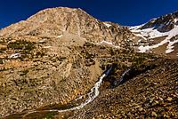 Climbing up Tioga Pass through the Sierra Nevada Mountains to the eastern entrance of Yosemite National Park, California USA.